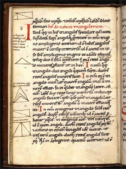 Geometriae Isagoge, fol 12v, Treaty on the geometry of Gerbert of Aurillac, Bavaria 12th century. Schoenberg collection.