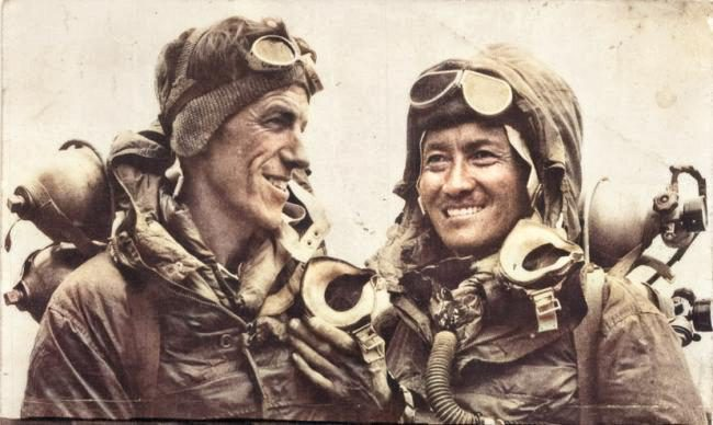 Hillary and Tenzing on return from the Everest's summit