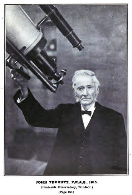 "John Tebbutt (1834-1916) was an Australian astronomer, famous for discovering the ""Great Comet of 1861""."