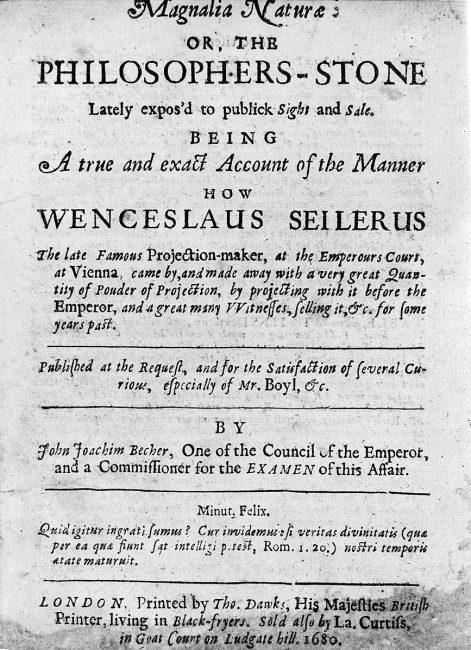"Title page of Johann Joachim Becher, ""Magnalia Naturae"", 1680"