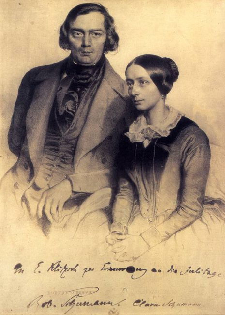 Robert and Clara Schumann, lithograph by Eduard Kaiser with personal dedication of the couple, 1847