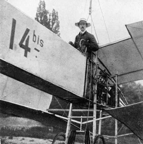 "Brazilian aviation pioneer Alberto Santos-Dumont in his ""14bis"" airplane"