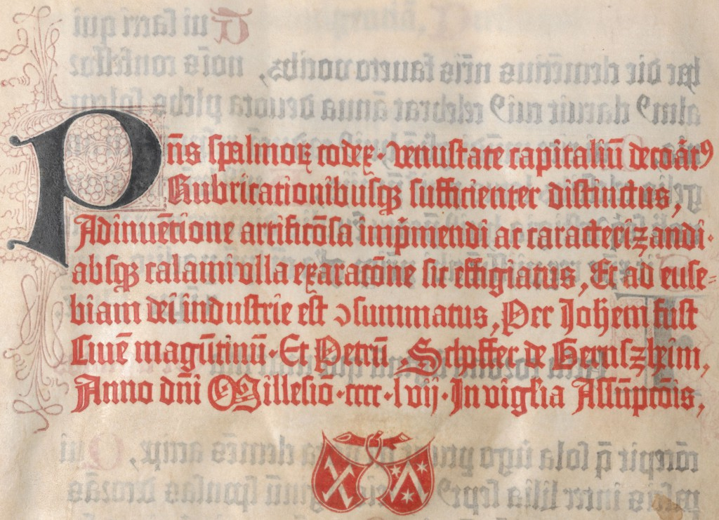 Colophon (Printer's Mark) of Johann Fust and Peter Schöffer in the Mainz Psalter of 1457 (from a digitized copy in the Astrian National Library [1])