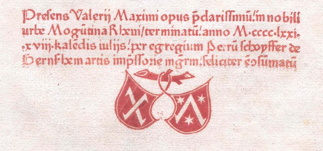 Printer's mark of Johann Fust and Peter Schoeffer