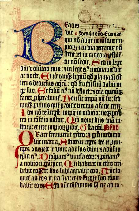 From the 1459 second edition of the Mainz Psalter with an illuminated letter