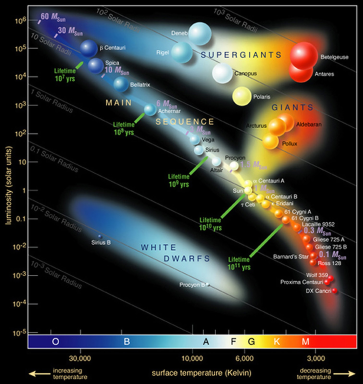 """Hertzsprung-Russell Diagram identifying many well known stars in the Milky Way galaxy. Suggested alt-text: Graph of temperature (x-axis) vs luminosity (y-axis). Temperature labels go from 3,000 to 30,000 K, increasing to the left. Luminosity labels increase upward from 10^-5 (0.00001) to 10^6 (one million) Lsun. A """"main sequence"""" of stars from top left to bottom right is seen. At top left they are blue and medium size, at bottom right they are red and small. At top right a number of large stars are shown, from left to right in this region their colors change from blue/white to red. At the very top there is a label """"supergiants"""" and just below that, but above the main-sequence and toward the right of the diagram there is another label """"giants"""". At bottom left, there is a region labeled white dwarfs, which contains only two tiny stars. On the x-axis, the spectral sequence is also labeled, from left to right: O, B, A, F, G, K, M."""