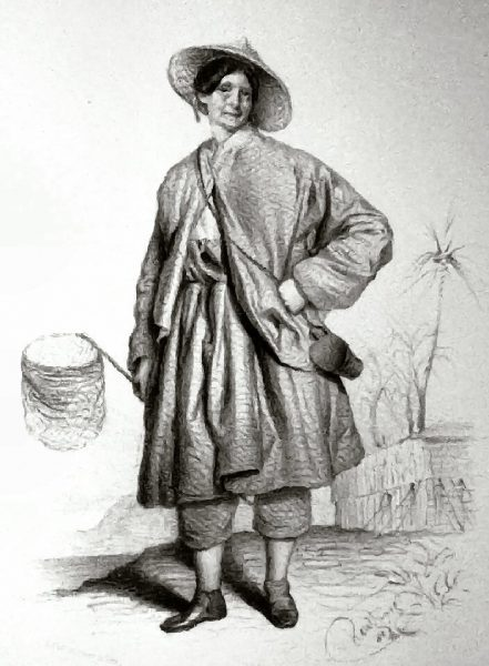 Ida Pfeiffer dressed for a collection foray with an insect net and a specimen container slung over her shoulder