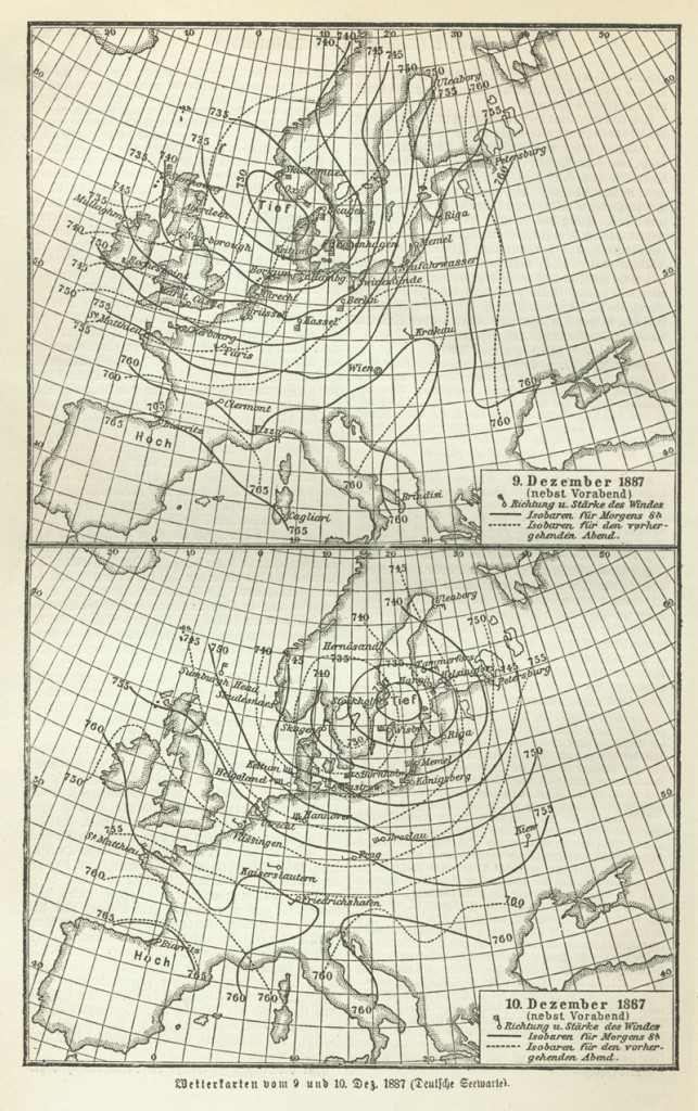 Weather map of Europe, 10 December 1887.