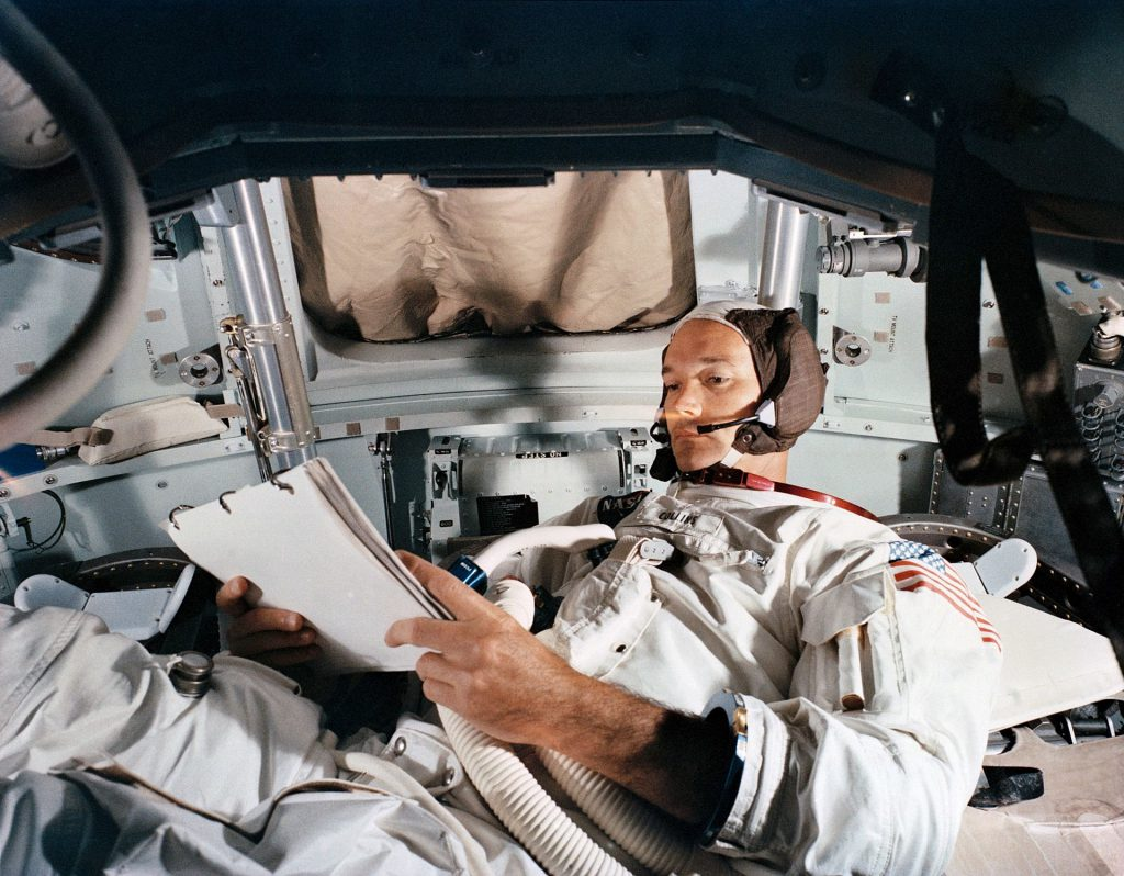 Apollo 11 Command Module Pilot Michael Collins in during the simulated rendezvous and docking maneuver