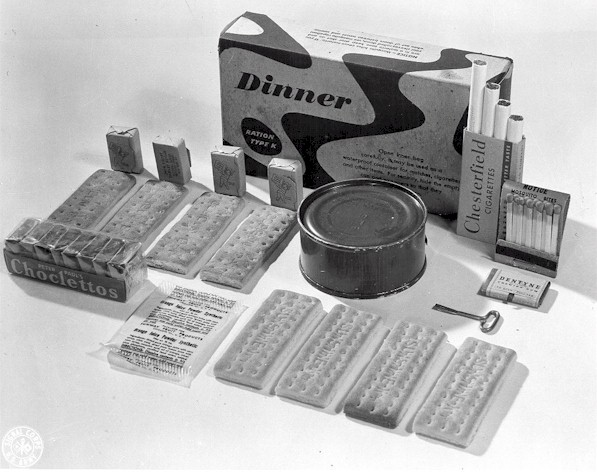 An example of a K-ration dinner. All the components were intended to fit into a box which would fit into a soldier's pocket