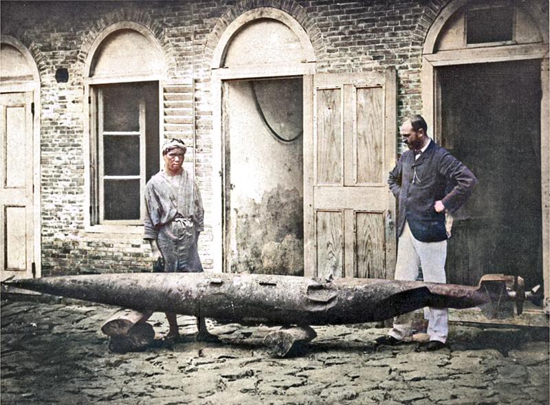 Robert Whitehead with a battered test torpedo, Rijeka (c. 1875)