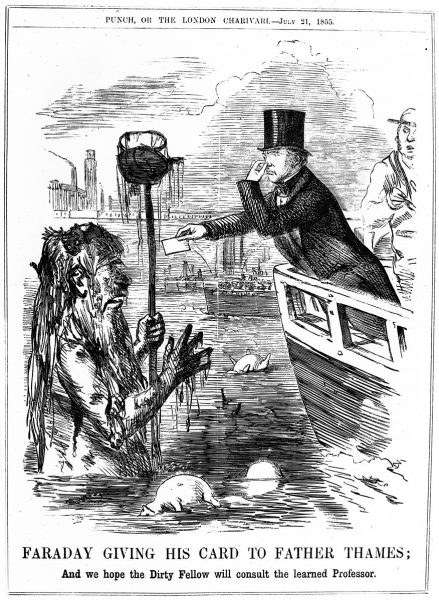 Faraday giving his card to Father Thames
