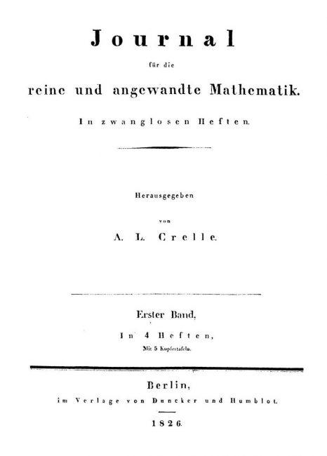 Journal für die reine und angewandte Mathematik 1826