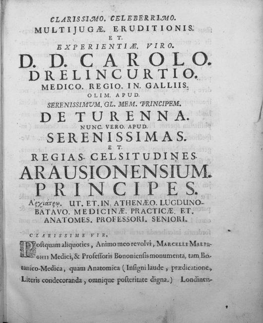 Marcelli Malpighii ... Opera omnia, seu Thesaurus locupletissimus botanico-medico-anatomicus, viginti quatuor tractatus complectens et in duos tomos distributus ... 1. - Lugduni Batavorum : apud Petrum Vander Aa, bibliopolam, 1687.