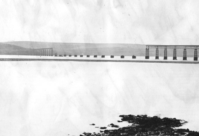 River Tay Bridge, middle section collapsed, photographed by Valentines in 1880