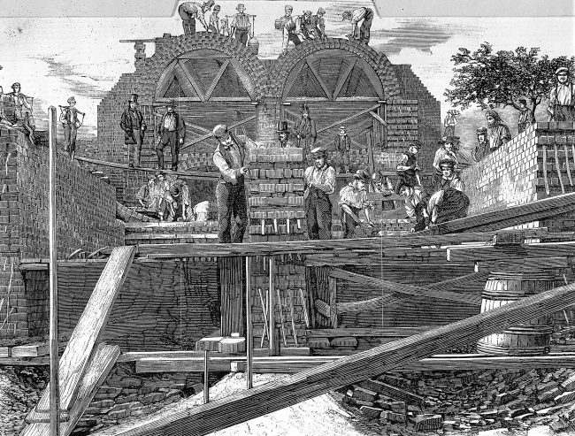 Construction of the sewers in 1859, near Old Ford, Bow in East London