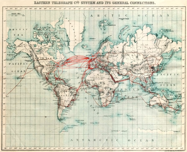 Eastern Telegraph Company network in 1901. Dotted lines across the Pacific indicate then-planned cables laid in 1902–03.