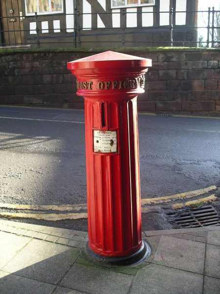 1856 Pillar Box at West Gate, Warwick, Warwickshire, England
