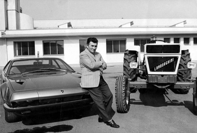 Ferruccio Lamborghini with a Jarama and a tractor of his brand