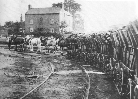 Benjamin Outram's Little Eaton Gangway in July 1908 with the last train of loaded coal wagons arriving