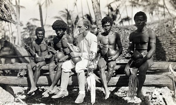 Bronislaw Malinowski with natives on Trobriand Islands