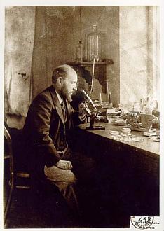 Santiago Ramón y Cajal in his laboratory.