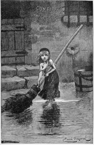 "Portrait of ""Cosette"" by Émile Bayard, from the original edition of Les Misérables (1862)"