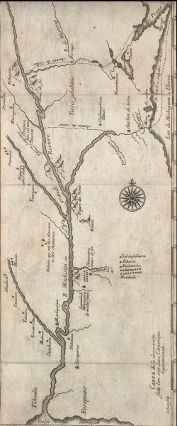 ca. 1681 map of Marquette and Jolliet's 1673 expedition.
