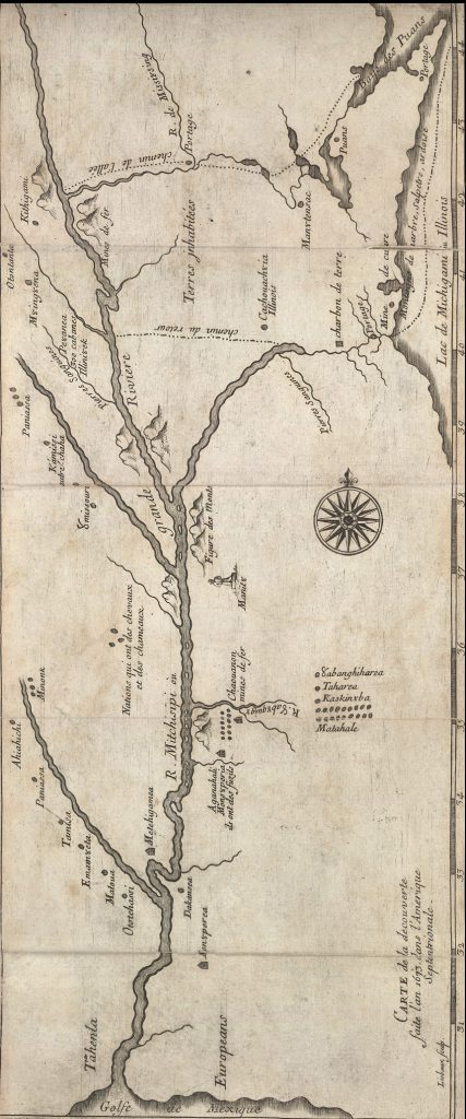 ca. 1681 map of Marquette and Jolliet's 1673 expedition. Jolliet-Marquette Expedition