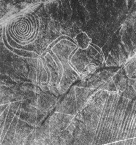 Nazca Monkey, This aerial photograph was taken by Maria Reiche, one of the first archaeologists to study the lines, in 1953.