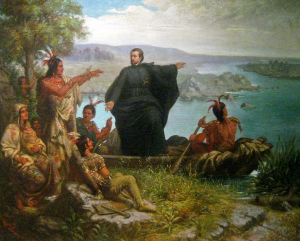Pere Marquette and the Indians [at the Mississippi River], oil painting (1869) by Wilhelm Lamprecht (1838–1906), at Marquette University