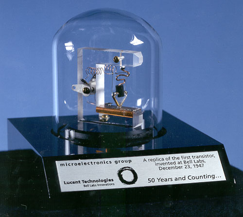 A stylized replica of the first transistor invented at Bell Labs on December 23, 1947