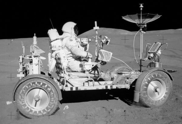 David R. Scott, Apollo 15 Commander, is seated in the Rover, Lunar Roving Vehicle (LRV) during the first lunar surface extravehicular activity (EVA-1) at the Hadley-Apennine landing site. (photo: Nasa)