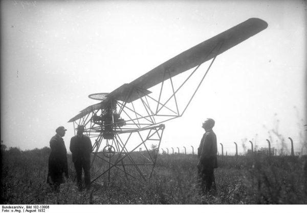 Engelbert Zaschka's Rotationsflugzeug. Photo: Bundesarchiv