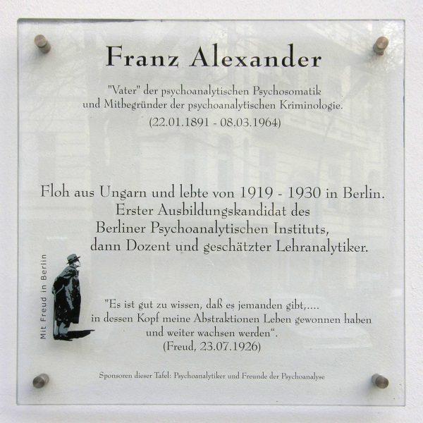 Memorial plate for Franz Alexander (1891-1964)