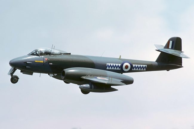 Gloster Meteor F8, Royal Air Force, seen arriving for RIAT 86