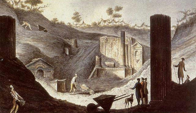 Pietro Fabris - Excavation of the temple of Isis in Pompeii