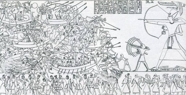 This famous scene from the north wall of Medinet Habu is often used to illustrate the Egyptian campaign against the Sea Peoples in what has come to be known as the Battle of the Delta