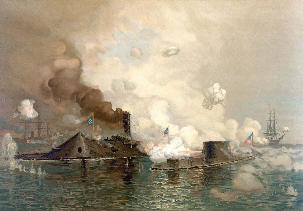 """""""The Monitor and Merrimac: The First Fight Between Ironclads"""", a chromolithograph of the Battle of Hampton Roads, produced by Louis Prang & Co., Boston"""