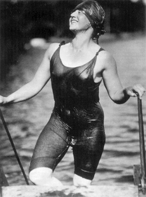 """Ellen Koeniger, Lake George, 1916"". Woman in wet swimwear. Photo by Alfred Stieglitz, Lake George, Warren County, New York."