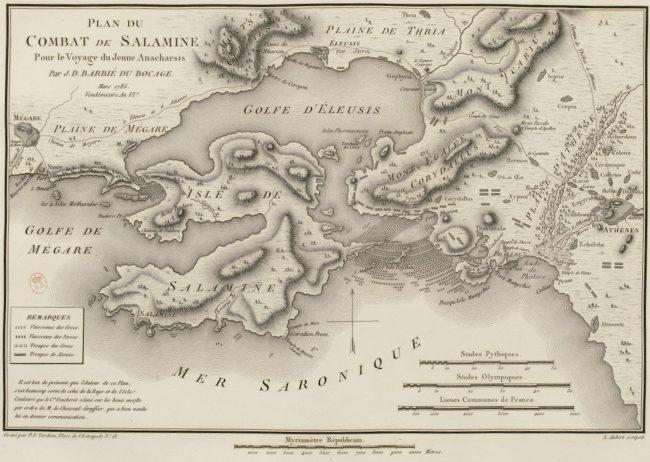 Battle of Salamis, 1785 engraving
