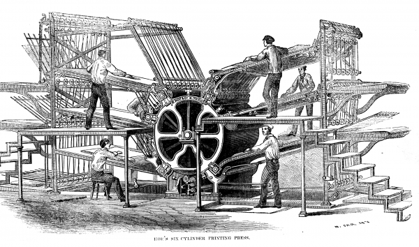 Hoe's six-cylinder rotary press from the 1860s. The printing plates are located on the large cylinder in the middle.