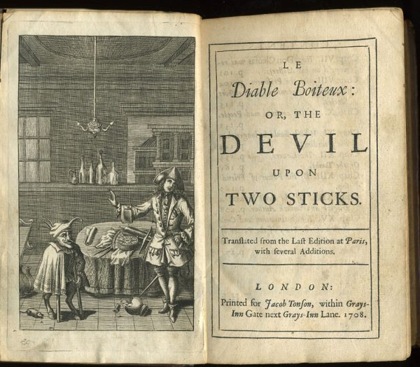 Frontispiece and titlepage of a 1708 English edition of The Devil upon Two Sticks, aka Le Diable boiteux.