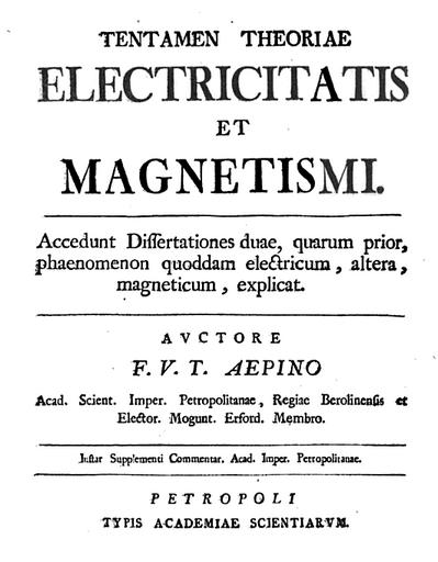 """Franz Aepinus' 1759 work """"entamen Theoriae Electricitatis et Magnetismi"""""""