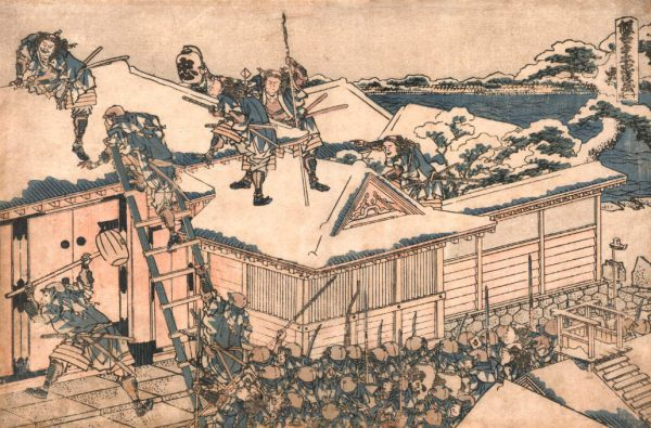 The rōnin attack the principal gate of Kira's mansion, woodcut by Hokusai