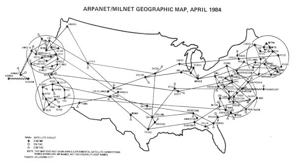 ARPANET/MILNET Geographic map in April 1984