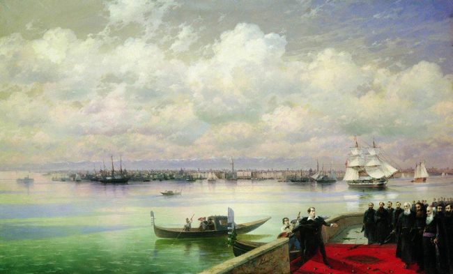 Byron's visit to San Lazzaro as depicted by Ivan Aivazovsky (1899)