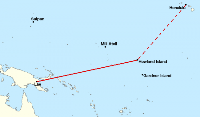 Earhart's flight was intended to be from Lae Airfield to Howland Island, a trip of 2,556 miles (2,200 nmi; 4,100 km). This leg was the longest of the planned flight, the length was close to the maximum range of the plane, and the destination was a small island in a large ocean.
