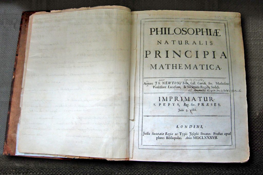 Sir Isaac Newton's own first edition copy of his Philosophiae Naturalis Principia Mathematica with his handwritten corrections for the twentieth edition.