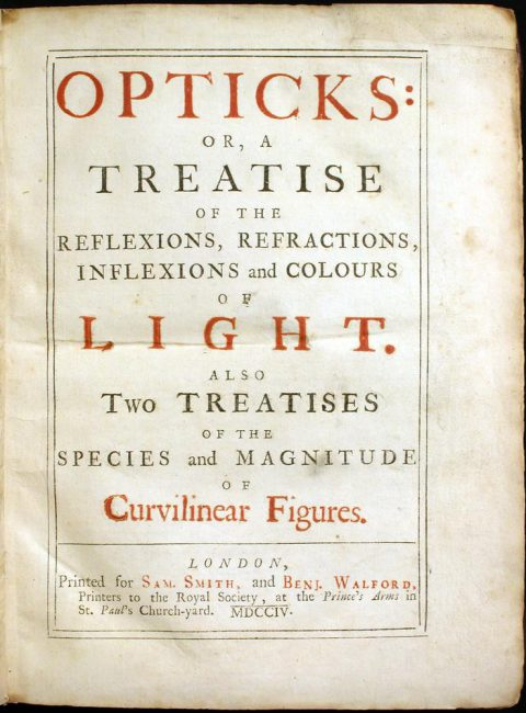 """Cover page of Isaac Newton's """"Opticks or a treatise of the reflections, refractions, inflections and colours of light"""", 1730"""